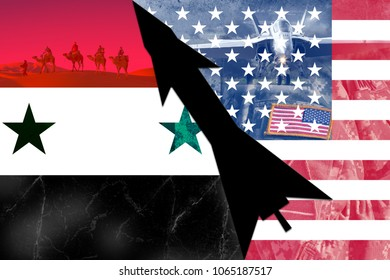 Concept of conflict in Syria. US missile response to the use of chemical bombs.