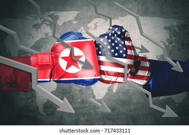 Concept of conflict. Two boxing gloves with North Korea and USA flag, declining arrows