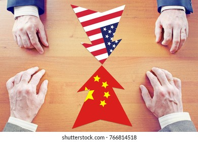 Concept of confrontation between China and United States. Diplomacy and hard talks