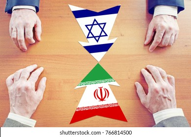 Concept of confrontation between Iran and Israel. Diplomacy and hard talks