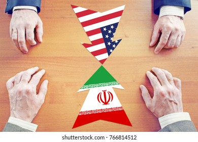 Concept of confrontation between Iran and United States. Diplomacy and hard talks