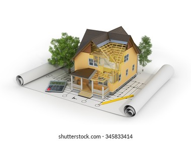 3d house plans images stock photos vectors shutterstock concept of construction 3d render of house in building process with trees calculator and malvernweather Choice Image