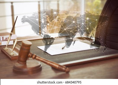Concept of consulting. World map and judge's workplace on background