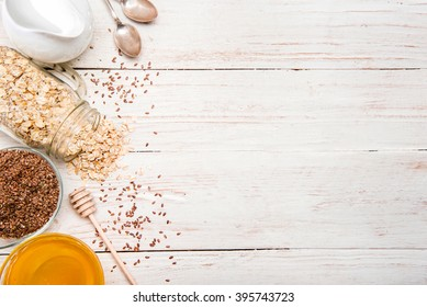 The concept of cooking oatmeal with flax seeds. Background.