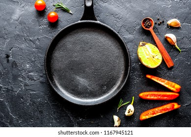 concept cooking steak on dark background top view mock up