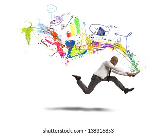 Concept of creative business with running businessman