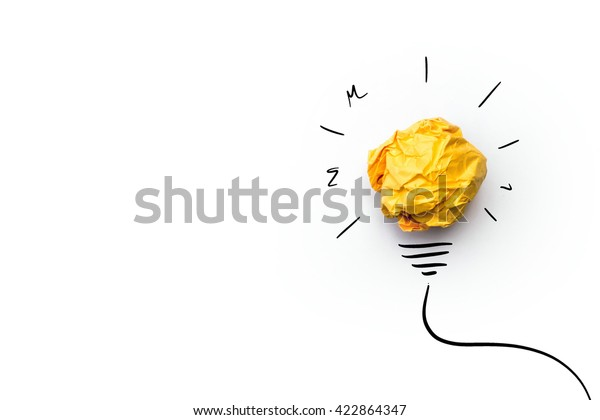 Concept creative idea and innovation with paper ball.Doodle art concept,illustration painting