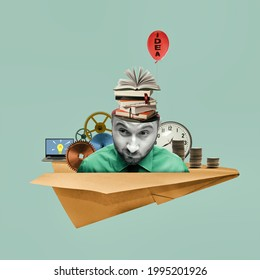 Concept of creativity, inspiration, ideas. Art collage with business ideas.