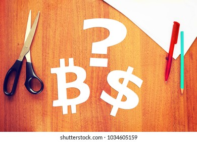 Concept of crypto-currencies. Choice between cryptocurrency and dollar