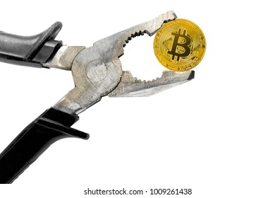 Concept of cryptocurrency bitcoin under pressure. Bitcoin coin being squeezed in vice; isolated on white background
