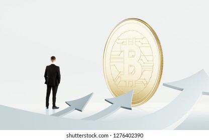 Concept of cryptocurrency price crash.  Growth of bitcoin. Thinking businessman