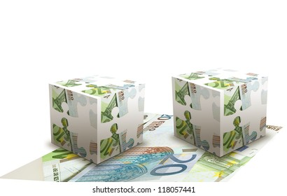 Concept of cubes made  from euro banknotes