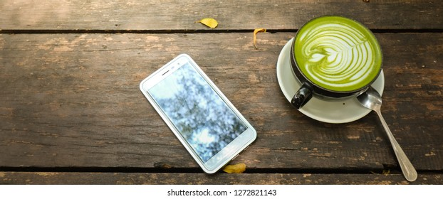 Concept A cup of green tea matcha latte art coffee on wooden background.japanese style. Design Copy Space Supplies Top View Flat Lay - Image