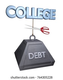 Concept for cutting the high cost of college debt for university students, 3D rendering