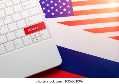 Concept of cyber attack (hacking) Russia (RF) in the United States (USA)
