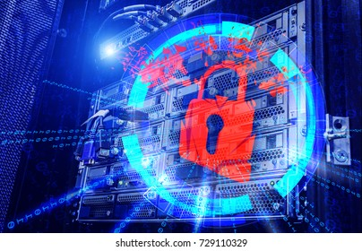 concept of cyber attacks as a red exploding barn lock and a visualization hakkerskih hacking on the server background modern data center