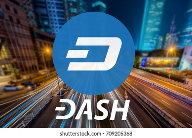 Concept of  Dash coin,  a Cryptocurrency blockchain, Digital money