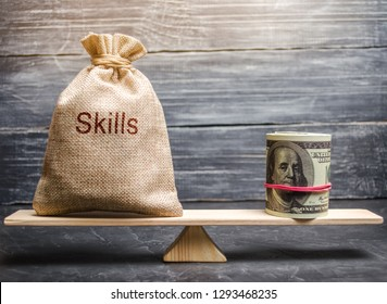 The concept of decent wages of an employee for useful skills. Professionals of the business. Low-quality incompetent courses private for teaching another popular profession for money. Balance. Scales