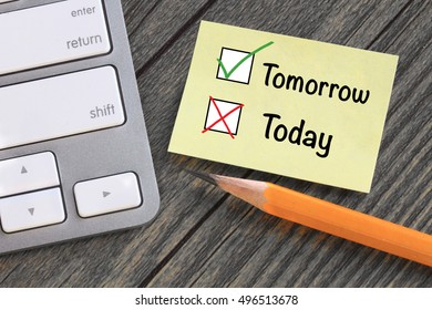 concept of deciding tomorrow instead of today