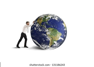 Concept of destruction of the world. (earth  furnished by NASA)
