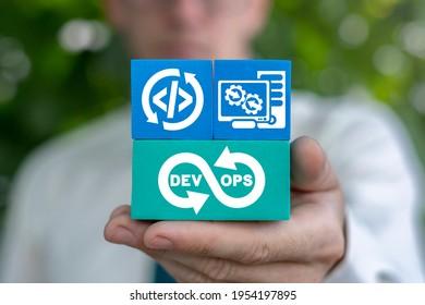 Concept of Dev Ops. Software Development and Operations. DevOps Agile Development Technology.