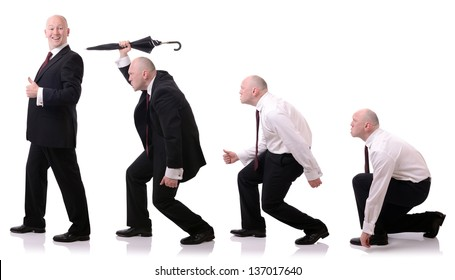 concept of development of a businessman survival of the fittest isolated on white