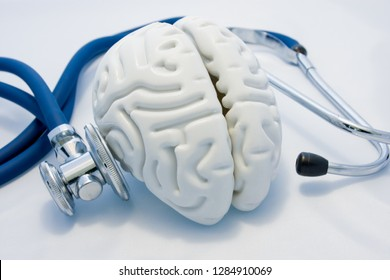 Concept of diagnosis and treatment of mental and psychological health. Anatomical model of empty brain is on white background and his diagnoses stethoscope. Determination of diseases of nervous system