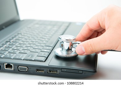 Concept of diagnostic. Stethoscope and laptop