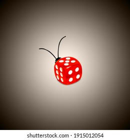 Concept, dice and lady bug