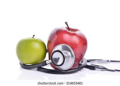 Concept for diet, healthcare, nutrition or medical insurance. Over white background