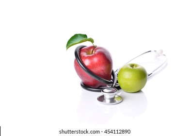 Concept for diet, healthcare, nutrition or medical insurance on white background
