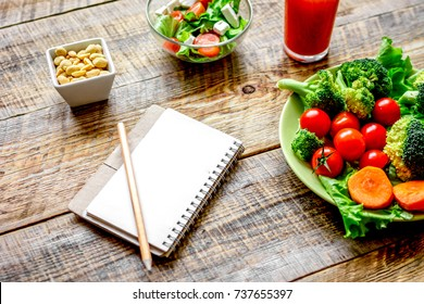concept diet, slimming plan with vegetables mock up