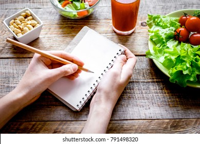concept diet, slimming plan with vegetables