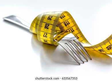 concept diet and weight loss on white background