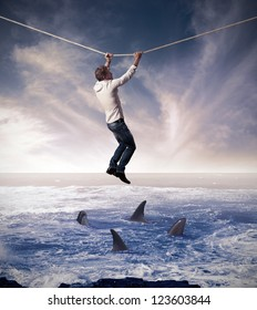 Concept of difficult and risk in business affairs