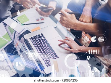 Concept of digital diagram,graph interfaces,virtual screen,connections icon on blurred background.Business meeting process.Woman typing laptop computer keyboard.Horizontal.Cropped