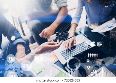Concept of digital diagram,graph interfaces,virtual screen,connections icon on blurred background.Business meeting process.Horizontal.Cropped