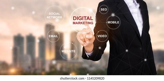 Concept of digital marketing media, Businessman selecting Digital marketing.