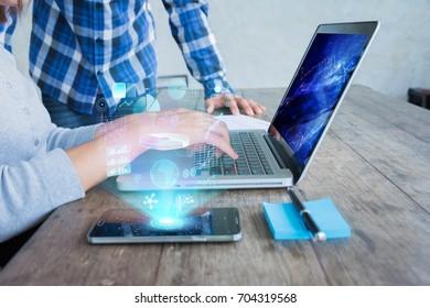 Concept of digital screen,virtual connection icon,diagram, graph interfaces