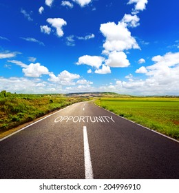 Concept of direct road to opportunity and success. Shoot of nice scenery of the way through green grass in the country.