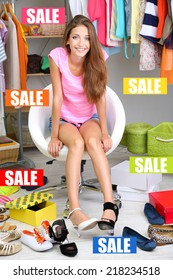 Concept of discount. Beautiful girl chooses shoes in room