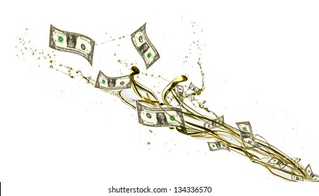 Concept of dollar banknotes and petrol splashing out, isolated on white background