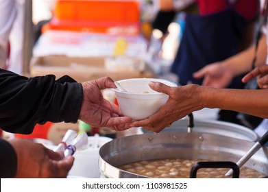 concept of donation feeding the poor to help each other in society