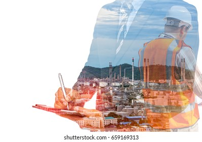 Concept Double exposure System industrial refinery and goods export and International trade