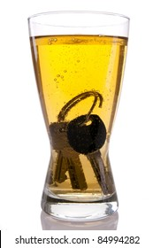 Concept of Drinking and Driving, beer and car keys