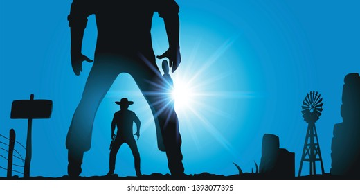 Concept of the duel in the wild west in the United States, with a tragic face to face between two cowboys. They are armed with their revolver and ready to open fire