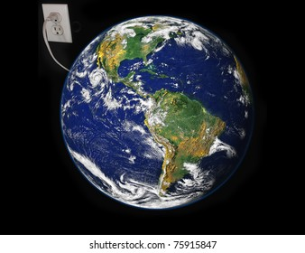 Concept of Earth plugged in electric outlet image courtesy NASA via public domain images.
