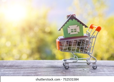 Concept eco house in a shopping cart on a background of greenery. Idea: buying a house, renting out, selling real estate. Mortgage. Loan for housing.