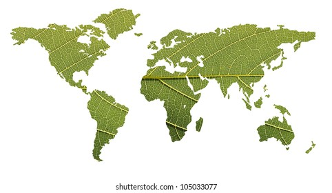 Concept of ecological balance showing world map formed using highly detailed photo of a leaf with clipping path