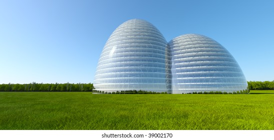 Concept ecological building at green grass field near forest